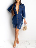 Denim Hole Distressed Long Sleeve Mini Dress