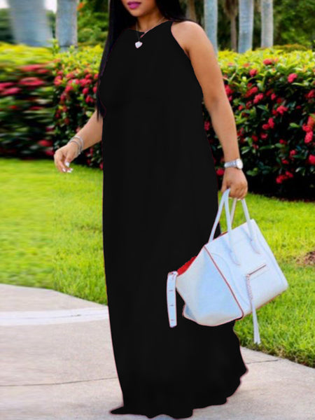 Solid Halter Neck Casual Sleeveless Maxi Dress