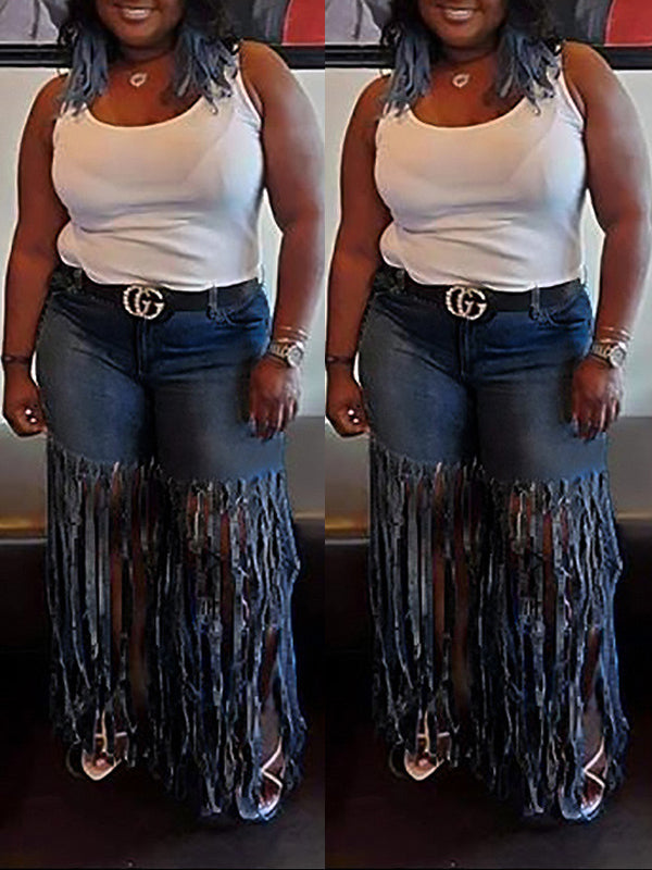 Plus Size Tassel Hem Denim Straight Jeans