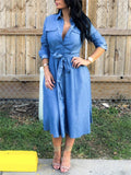 Button Up Long Sleeve Denim Midi Dress