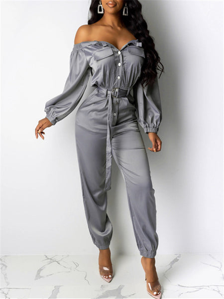 Off the Shoulder Long Sleeve Pocket Jumpsuit