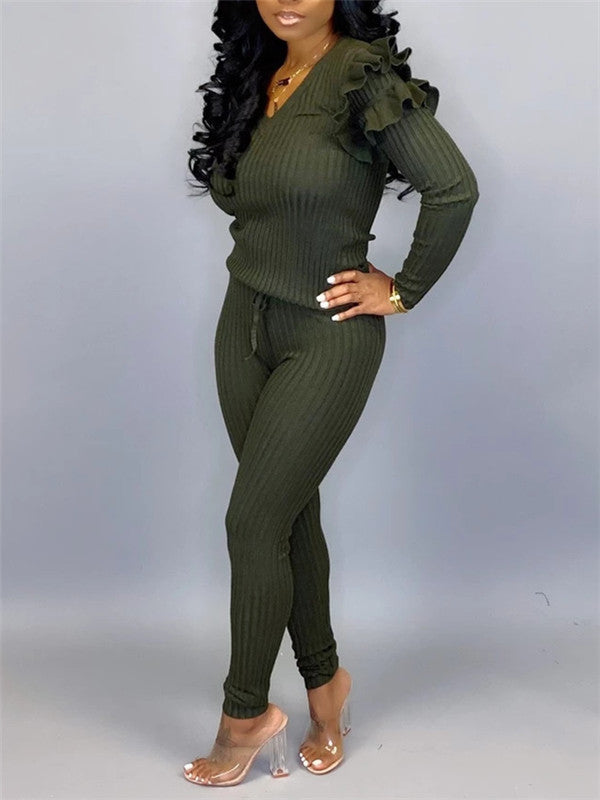 Plus Size Fungus Edge Casual Two Piece Sets