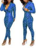 Zip Up Long Sleeve Leopard Jumpsuit