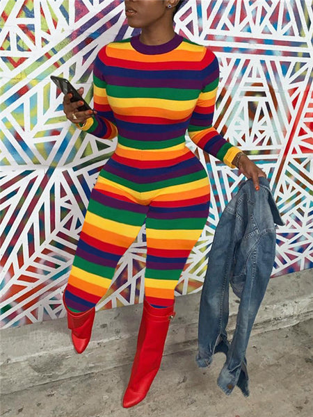 Rainbow Stripe Long Sleeve Jumpsuit