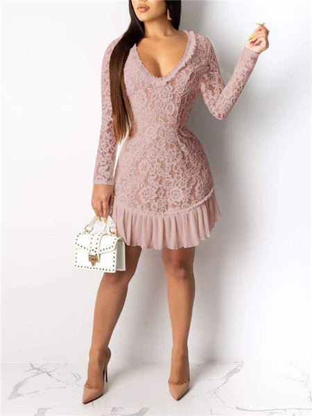 Open Back Long Sleeve Ruffled Lace Dress