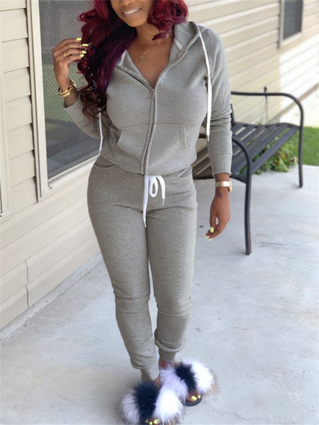 Hooded Collar Zip Up Casual Two Piece Outfits