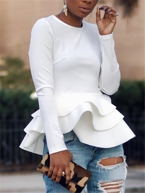 Ruffled Solid Color Long Sleeve Top