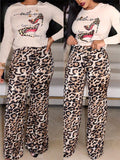 Leopard Print Long Sleeve Casual Two Piece Sets