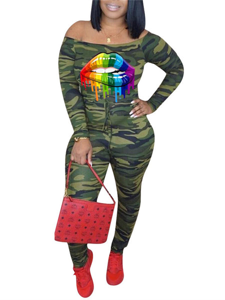 Lip Print Off the Shoulder Camouflage Jumpsuit