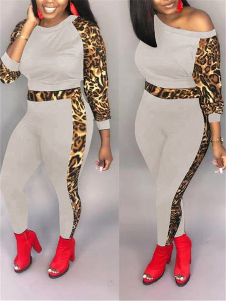 Leopard Patchwork Long Sleeve Two Piece Sets