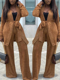Solid Color Belted Plush Two Piece Sets