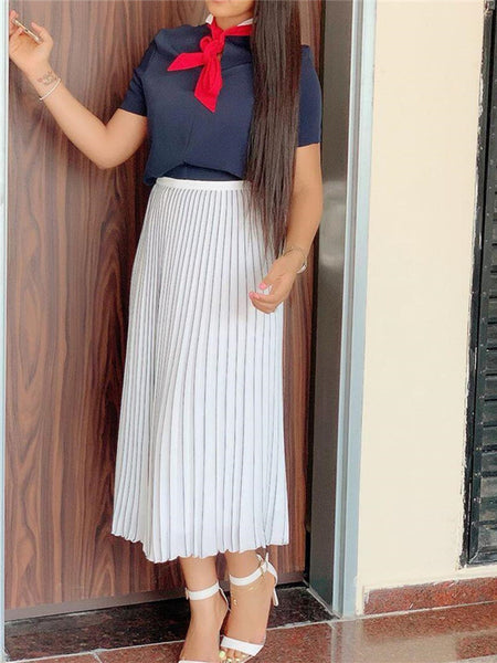 High Waist Solid Color Pleated Skirt