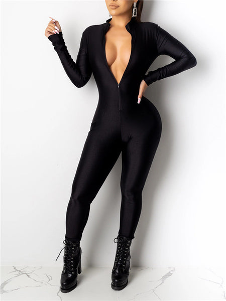 Solid Color Long Sleeve Zip Up Jumpsuit