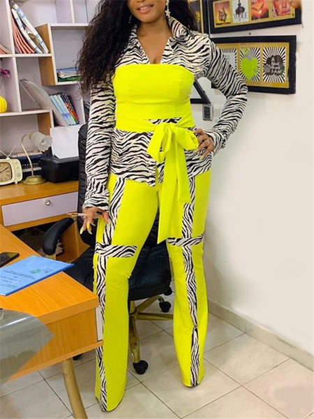 Zebra Print Patchwork Casual Two Piece Sets