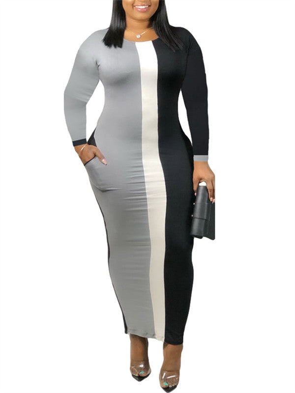 Color Block Long Sleeve Pocket Maxi Dress