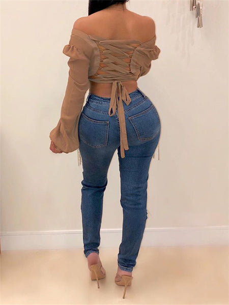 Tassels Decor Distressed High Waist Jeans