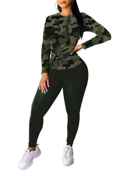 Camouflage & Leopard Print Hooded Two Piece Sets