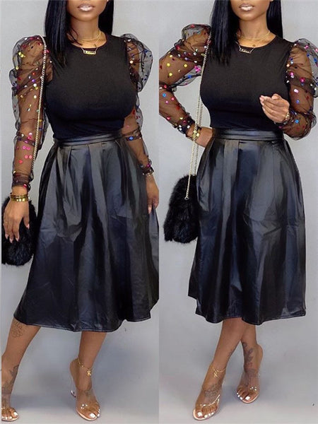 Puff Sleeve Mesh Panel Top & PU Skirt