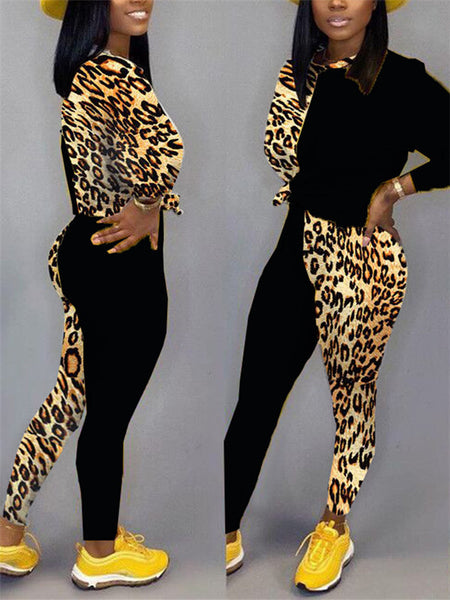 Leopard Patchwork Long Sleeve Casual Top & Pants