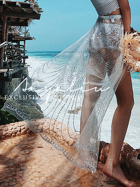 288042e3c5 See-Through Net Yarn Solid Color Beach Skirt – ForeverShe