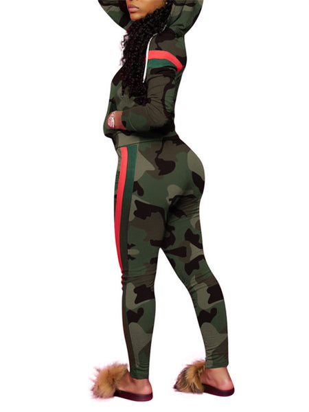 Plus Size Hooded Collar Camouflage Two Piece Sets