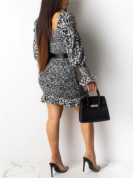 Fungus Edge Leopard Print Elastic Dress