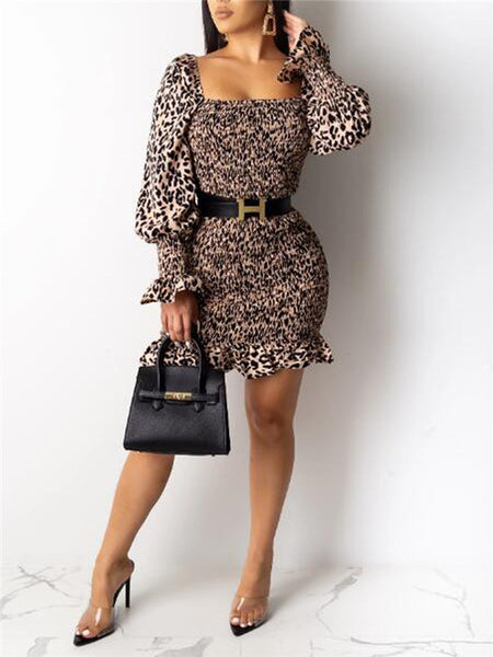 Off The Shoulder Leopard Print Knit Mini Dress