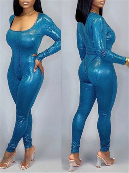 Solid Color Long Sleeve Sexy Bodysuit & Pants
