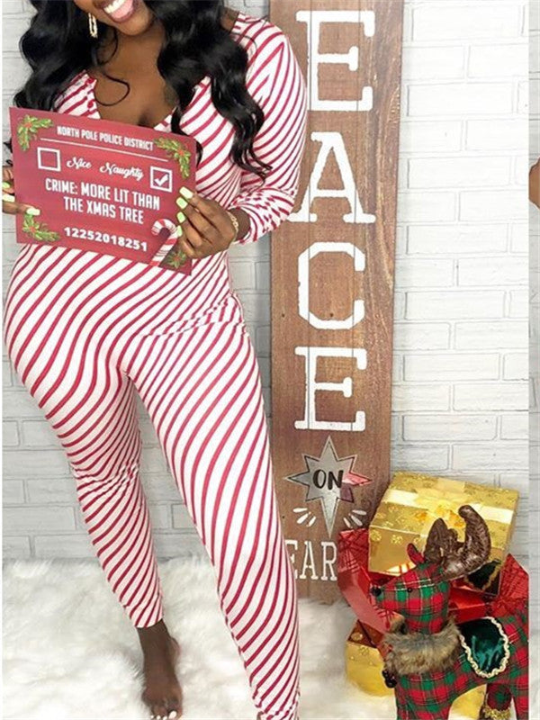 Stripe Print Long Sleeve Christmas Jumpsuit