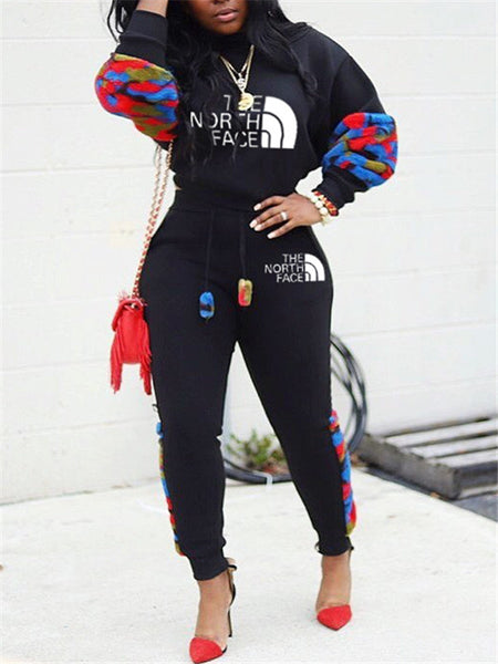 Letter Print Patchwork Casual Two Piece Sets