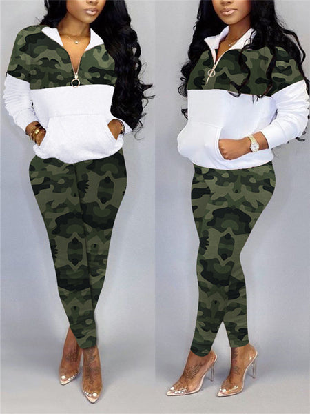 Embroidered Camouflage Printed Drawstring Top & Pants