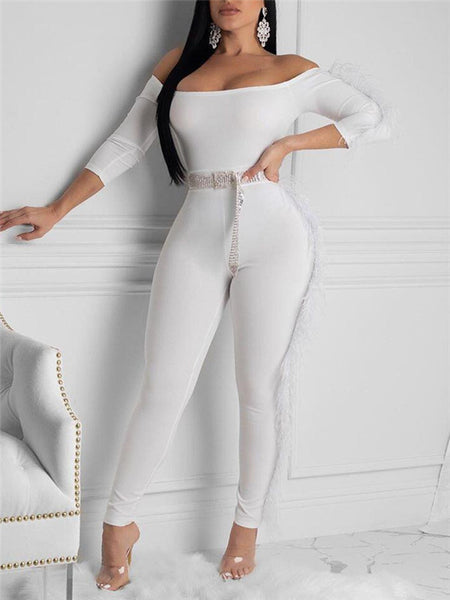 See-through Flare Sleeve Sequin Jumpsuit