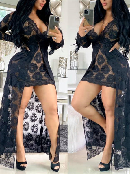 V Neck Semi Sheer High Low Lace Dress