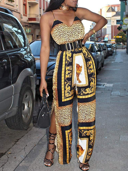 Fashion Sexy Print Sleeveless V-neck Jumpsuit With Belt