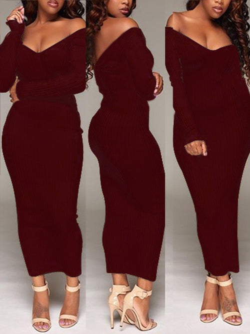 [Special Sale]Solid Off The Shoulder Long Sleeves Maxi Dress