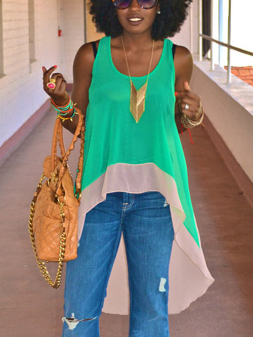 Casual Chiffon Patchwork Tops