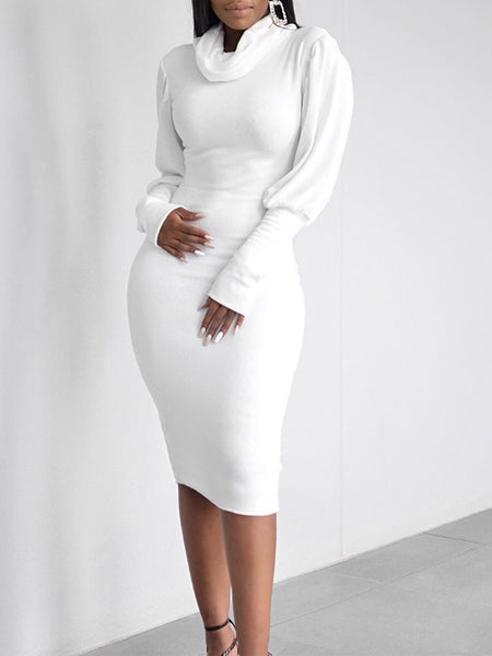 Cowl Neck Lantern Sleeve Solid Color Midi Dress