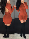 Ruffle Open Back Long Sleeve Mini Dress