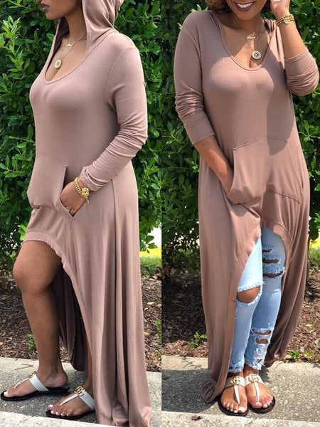 Solid Hooded Collar Long Sleeve Maxi Dress