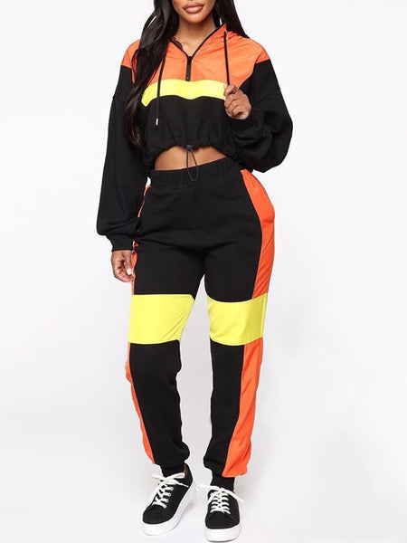 Color Block Zipper Long Sleeve Top & Pants