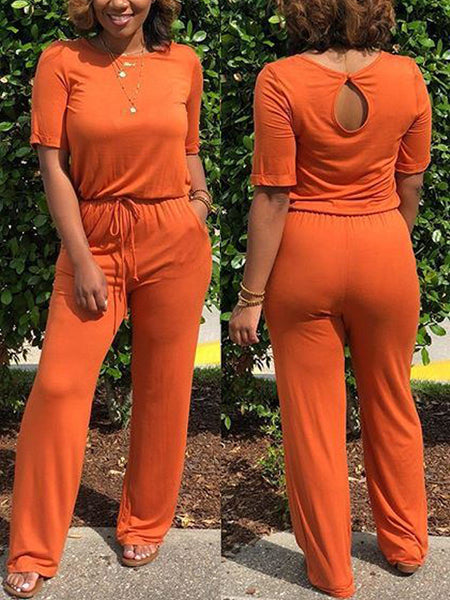 Casual Solid Drawstring Waist Jumpsuits