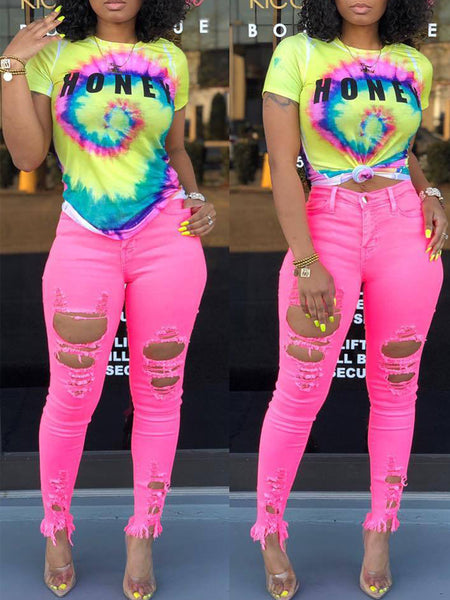 Casual Tie Dye Round Neck Short Sleeve T-shirt