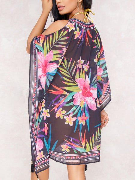 Sexy V-neck Chiffon Cover-up Midi Dress