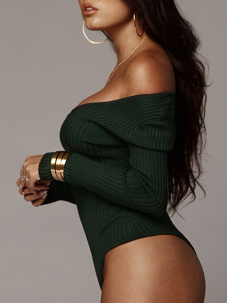 Solid Sexy V-neck Rib Long Sleeve Romper