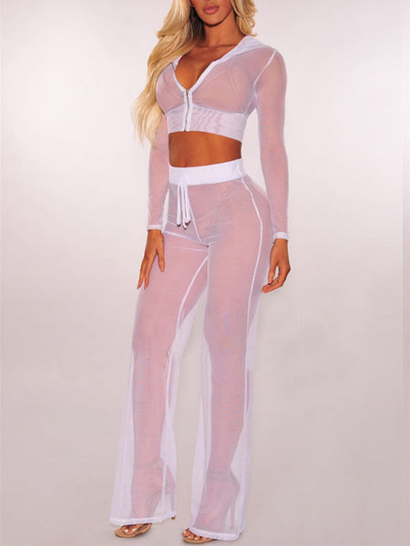 Solid See-through Two Pieces Suit