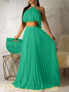 Wrinkles Solid Color Halter Top & Maxi Skirt
