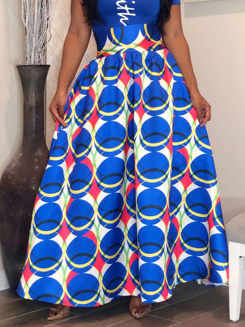 Digital Print High Waist Maxi Skirt
