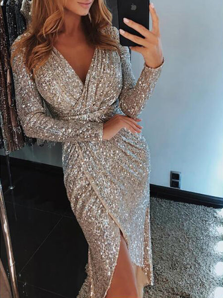 Sexy Lace See Through Long Sleeve Midi Dress