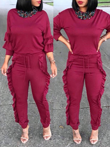 Fashion Solid Color Ruffle Two-Piece Outfits