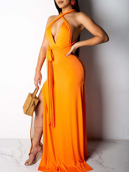 Solid Deep V-neck Sleeveless Open Back Maxi Dress
